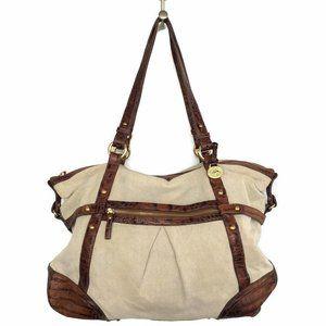 BRAHMIN Tote Handbag X Large Canvas VTG Shoulder